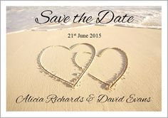 2 Hearts in the Sand Save the Date Cards