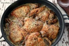 We are not kidding when we tell you that our one-pan mushroom Asiago #chicken brought streams of people into the test kitchen… it smells amazing and tastes even better! ☺  What are you cooking tonight?  Get the recipe: http://www.cherylstyle.com/simple-food-recipes/dinner-recipes/mushroom-asiago-chicken/