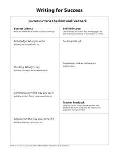 Writing for Success: Criteria Checklist and Feedback