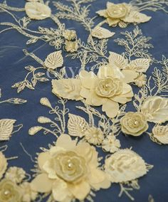 High Quality 3D Flower beads Pearls embroidery fabric  lace