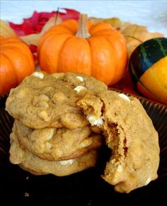 Macadamia Nut White Chip Pumpkin Cookies. Ah man!!! Another one!!! Well...since white chocolate macadamia IS my all time fav-O-rite cookie these pumpkin ones might be a yummy twist