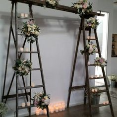 Wedding Backdrop Ladders Candles - put gauzy white fabric with lights in between the ladders? Diy Wedding Backdrop, Wedding Props, Wedding Ideas, Rustic Wedding, Our Wedding, Dream Wedding, Wedding Stuff, Wedding Show Booth, Flower Decorations
