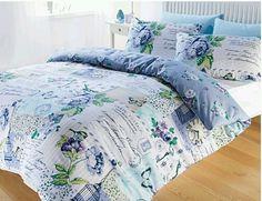 Shabby Chic Bedding Blue | Blue Scrapbook Shabby Chic Reversible Duvet Set Single Double King ...