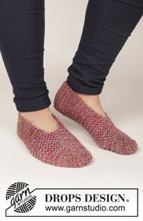 "Side Step - Knitted DROPS slippers in garter st in 4 strands ""Delight"". - Free pattern by DROPS Design"