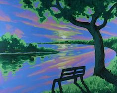 """Social Artworking Canvas Painting Design - River Reflection  Savoring a gorgeous summertime sunset is something we all enjoy. Why not capture that peaceful feeling with this stunning canvas painting? Create a custom sunset to coordinate with your decor, or follow our lead.  CANVAS SIZE:  16"""" x 20""""  TIME TO PAINT:  approximately 2 hours 30 minutes"""