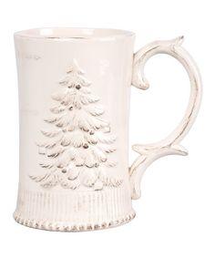 Love this Antique White Bas-Relief Christmas Tree Mug -shabby chic holidays!