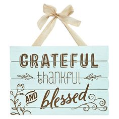 """Grateful Thankful Blessed Wall Plank, 13"""" x 14""""  //  $7.99  Home Decor Quotes- Wall art grateful and blessed Home Decor Quotes, Wall Art Quotes, Wall Sayings, Thankful And Blessed, Grateful, Wooden Plaques, All Wall, Craft Fairs, Wood Art"""