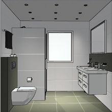 Kleine badkamer met dubbele wastafel en inloopdouche  Kleine badkamer ...
