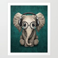 Free Worldwide Shipping Today! Cute Baby Elephant Dj Wearing Headphones and Glasses on Blue Art Print by Jeff Bartels | Society6