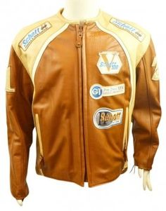 Schott NYC Leather Racing Coat Motorcycle Jacket #vintage