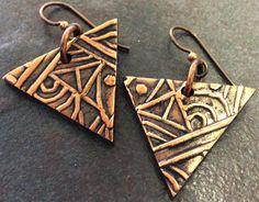Art Clay Copper Clay Aztec Earrings by Jade Cameron from Metal Clay Ltd.