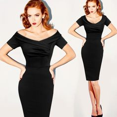 Off Shoulder Solid Bodycon Mid-Calf Dress