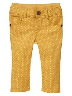 Knit-waist skinny dot jeans   Gap
