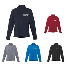 """Custom Imprinted Women's Caltech Knit Quarter Zip: Perfect for promoting your brand during harsh winters.  AAvailable Colors: Black, Navy, Olympic Blue, Steel Grey, Vintage Red. Product Size: XS, S, M, L, XL, 2XL, 3XL, 4XL, 5XL. Imprint Area: Centered on Left Chest Right Chest 3.00"""" H x 3.00"""" W. Material: 87% Polyester, 13% Spandex Jersey knit. #ootd #fashion #women #winterwear"""