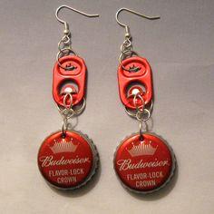 NOEL!!!!!! FOR YOU!!!Recycled Can Tab Bottle Cap Earrings Budweiser by FireWarpedGlass,