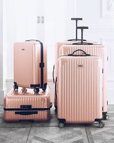 gold Suitcase Trending On ShopStyle - Rimowa Salsa Air Pearl Rose Cabin Multiwheel Trending On ShopStyle - Rimowa Salsa Air Pearl Rose Cabin Multiwheel Cute Luggage, Luggage Sets, Travel Luggage, Travel Bags, Calpak Luggage, Travel Ideas, Travel Usa, Pink Luggage, Travel Europe