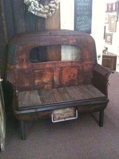 1941 studebaker truck bed bench--this would be so awesome in a man cave! Car Part Furniture, Automotive Furniture, Furniture Ideas, Garden Furniture, Automotive Decor, Automotive Engineering, Engineering Colleges, Furniture Websites, Furniture Chairs