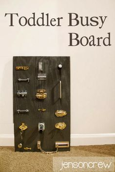 Toddler Busy Board - latches, hinges, locks and more.