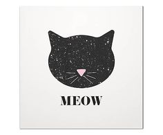 Placa Decorativa Meow - 29x29cm