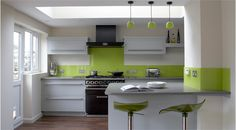 Kitchen : Awesome Green Kitchen Paint Ideas With Green Glass Kitchen Backsplash Also Green Glass Mini Pendant Lighting And Black Metal Gas Range Stove Besides Green Stainless Steel Modern Bar Stool Wonderful Green Kitchen Decorating Ideas Green Apple Kit Green Kitchen Paint, Lime Green Kitchen, Green Kitchen Decor, Green Kitchen Cabinets, Gray And White Kitchen, Glass Kitchen, Kitchen Interior, New Kitchen, White Cabinets