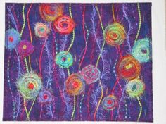 Patricia Powers Art Quilts: Rainbow Flowers in a Garden of Purple