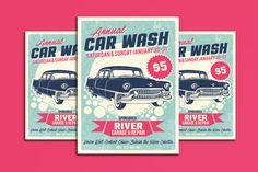 car wash service flyer template by leza on creative market