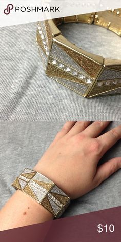Geometric Stretch Bracelet Gold and silver chunky bracelet with crystal details. So cute!! Jewelry Bracelets