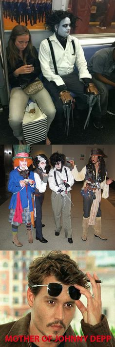 Johnny Depp film characters cosplay: Edward Scissor Hands, Willy Wonka, Captain Jack Sparrow, and Sweeney Todd. View more EPIC cosplay at http://pinterest.com/SuburbanFandom/cosplay/