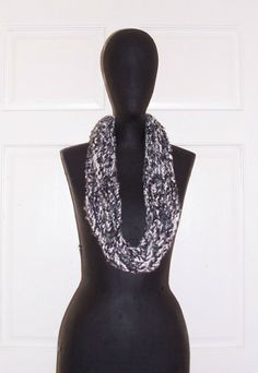Gray Black White Crochet Chain Scarf Multi Color Braided Scarf