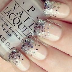 nude glitter nails ... for the new year bride.