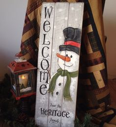 Personalised Hand Painted Snowman Welcome Sign Pallet Art by WaddlingDuckVintage on Etsy https://www.etsy.com/uk/listing/493054847/personalised-hand-painted-snowman