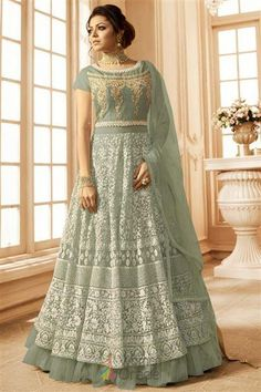 3f50344f68 Drashti dhami beige partywear gown suit online which is crafted from net  fabric with exclusive embroidery and hand work. This stunning designer gown  suit ...