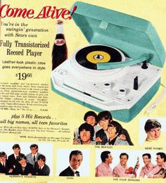 Record Player and Popular Music 45's Singles  Price: $19.66  Description Fully Transistorized Record Player and 5 Popular Music 45's Singles Hits from The Beatles, Hermans Hermits, Gene Pitney, Dion and The Four Seasons.