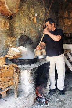 Traditional cheese making on one of our fine Greek farms.