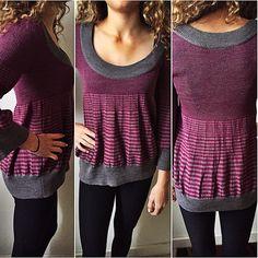Free People Sweater Free people striped sweater...7o%wool 3o%acrylic..grey and deep raspberry shades.. No trades no pay pal Free People Sweaters