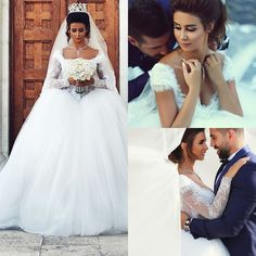 Square Long Sleeve Appliques Lace Ball Gown Wedding Dress 2015 Tulle Muslim said mhamad Wedding Dress Removeable SleevesSAM045