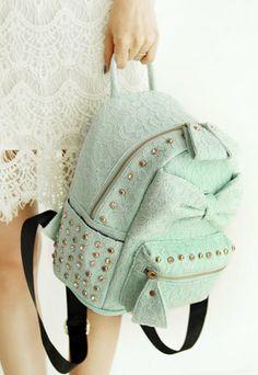 $39.99 Floral Lace Sweet Girl Rivets School Bag Rucksack Backpack