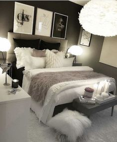 cozy grey and white bedroom ideas; bedroom ideas for small rooms; bedroom decor … - home decor on a budget bedroom Bedroom Decor Ideas Colour Schemes, Room Ideas Bedroom, Budget Bedroom, Small Room Bedroom, Home Decor Bedroom, Girls Bedroom, Color Schemes, Bed Room, Cozy Bedroom