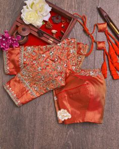 Sari Blouse Designs, Fancy Blouse Designs, Bridal Blouse Designs, Blouse Desings, Designer Bridal Lehenga, Work Blouse, Wedding Blouses, Embroidery Designs, Maggam Works