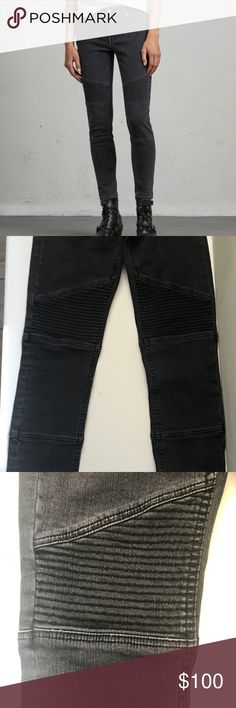 All Saints Biker Ankle Skinny Jeans Condition: Excellent (like new)  Size: 24  Material: 98% cotton, 2% elastane. Made in Turkey.  Details: Washed Black color. The Biker Ankle Jeans have a cropped leg length and signature skinny fit with classic biker details. Cut for a skinny fit. In seam: 67cm. Low rise. Skinny leg. Stretch denim. Biker stitch details. Delicate machine wash. All Saints Jeans Skinny