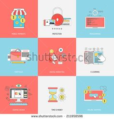 Set of flat line iconsl concepts of mobile payments, programming, protection,digital marketing, e-learning, graphic design and online shopping . Design elements for web and mobile applications. Vector