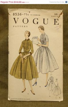 Summer Sewing Sale Vogue 8536 Vintage 1950s Dress Sewing Pattern Size 14 Bust 32