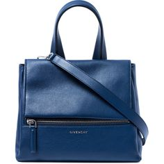 Givenchy Small Blue Pandora Pure Leather Bag ($2,195) ❤ liked on Polyvore featuring bags, handbags, shoulder bags, top handle handbags, leather flap handbag, leather purse, shoulder strap bag and blue handbags