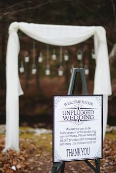 Unplugged wedding. Ceremony Decor. Outdoor wedding, fall wedding, rustic wedding.  Photo by ariusphoto.com