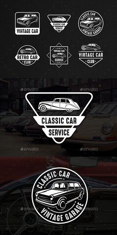 Classic Car Vintage Logo & Badge Templates Vector EPS