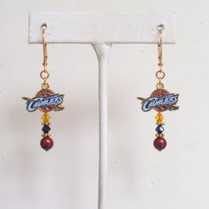 Cleveland Cavaliers Earrings Cavs Bling Burgundy by scbeachbling