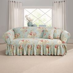 Sure Fit Waverly Ballad Bouquet Sofa Slipcover, Blue