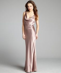 A.B.S. by Allen Schwartz : mink satin cowl neck crisscross draped sash v-back gown : style # 320291101