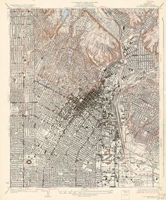 Map of the Los Angeles quadrangle, showing downtown, Vernon, East Los Angeles, and portions of the neighborhoods of Silver Lake, Los Feliz, and East Hollywood.