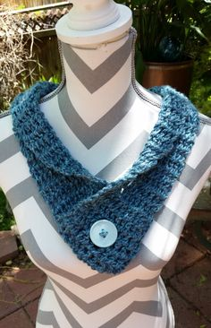 Woman's Blue Crochet Scarf, Hand Made Teen Skinny Cowl. Button accent by DesignedbyBrendaH on Etsy